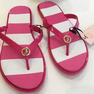 NWT Juicy Couture Striped Thong Flip-Flops 7/8